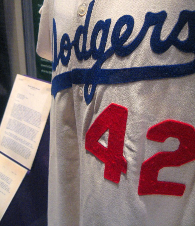 jackie robinson's jersey [http://www.flickr.com/photos/queen_of_subtle/395631372/]